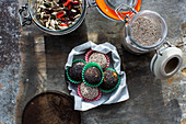 Protein balls with almond nutbutter and dates, energy balls with honey, nuts and seeds
