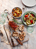 Stuffed Pork loin with potatoes and vegetable