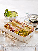 Lasagne with pesto and summer vegetables