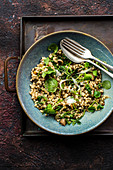 Barley risotto with puy lentils and watercress
