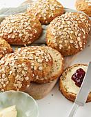 Homemade oat rolls with jam