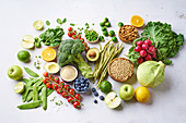 Vegetables, fruits, lentils and almonds
