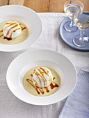 Floating islands with caramel sauce