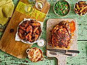 Maple-glazed hot wings, Piri-piri chicken with chilli and mint peas