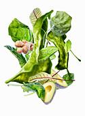 Grüner Smoothie mit Zutaten