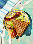 A toasted sandwich with omelette and bacon