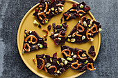 Chocolate and salted pretzel trail mix with pistachio nuts