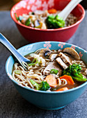 Ramen-Suppe mit Schweinefleisch, Pilzen und Gemüse (Japan)