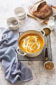 Butternut squash soup in a pot
