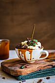 Chocolate Mug Cake with Caramel, Cream and Peppermint Crisp Chocolate