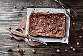 Homemade brownies made with chocolate cream and hazelnuts