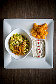 Mix Game Pulao with Raita and Fried potato