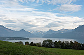 A mountain panorama with Lake Lucerne, Switzerland