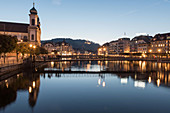 A view of the Jesuit church from the River Reuss, Lucerne, Switzerland