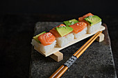 Sushi with salmon and avocado (Japan)