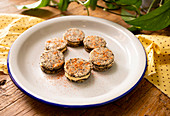 Black olive cookies with mascarpone filling