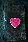Pink heart-shaped biscuits