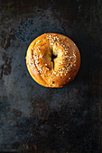 A sesame seed bagel on a baking tray