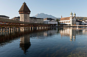 The Kapellbrücke (Chapel Bridge) over the River Reuss, the water tower, Lucerne, Switzerland