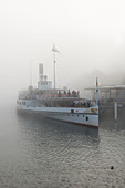 A paddle steamer in the mist, Lucerne, Switzerland