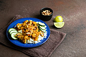 Thai peanut chicken with spicy lime mango