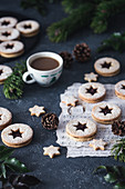 Christmas linzer cookies with jam