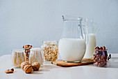 Ingredients for preparing vegan milk on table