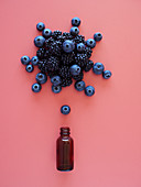 Top view composition of blueberries and blackberries arranged over small glass bottle on pink background