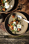 Dill rice with harissa mushrooms