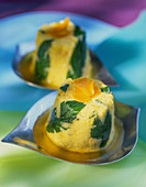 Orange mousse with mint