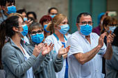 Healthcare workers clapping during Covid-19 outbreak