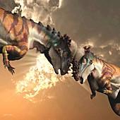Pair of Pachycephalosaurus dinosaurs, illustration