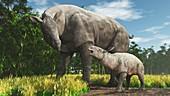 Adult and child extinct mammal Paraceratherium illustration