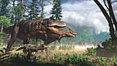 Tyrannosaurus family group, illustration