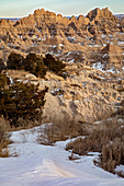 Badlands National Park in winter, USA