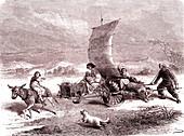 Land sail transport in Shanghai, China, 19th century