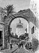 City gate, Tunis, Tunisia, 19th century illustration