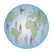 Global population, conceptual illustration