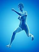 Woman running, illustration