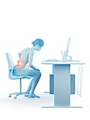 Woman with a painful back while working, illustration