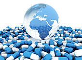 Global pharmaceutical industry, conceptual illustration