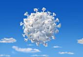 Coronavirus-shaped cloud, conceptual illustration