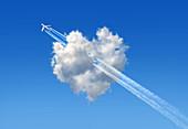 Aeroplane flying through heart-shaped cloud, illustration