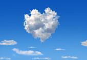 Heart-shaped cloud, conceptual illustration