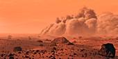 Martian dust storm, illustration