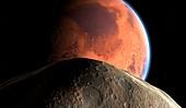 Mars and Phobos, illustration
