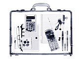 Briefcase with various items, X-ray