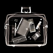 Holdall with various items, X-ray