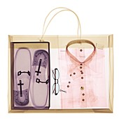 Paper shopping bag with shirt and shoes in a box, X-ray
