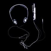 Headphones and volume control, X-ray